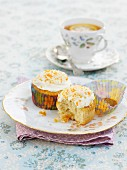 Coconut and apricot cupcakes and lemon tea