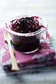 Red cabbage chutney in a glass container