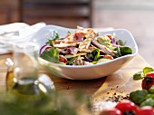 Salad with chicken and ham