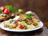 Nachos with tomato salsa and jalape