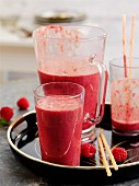 Beetroot smoothie with raspberries