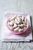 Borlotti beans in a paper baking case