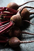 A bunch of red beets