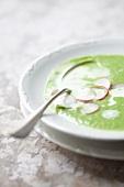 Radish leaf soup with sliced radishes