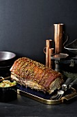 Roast pork with a fennel crust and white cabbage