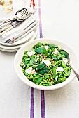 Pea and bean salad with feta