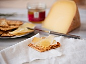 Sliced Cheese on a Cracker with Truffle Honey