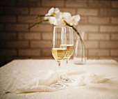 Two Glasses of Champagne with Flowers in the Background