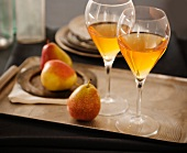 Two Glasses of Dessert Wine on a Tray with Pears