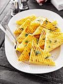 Grilled polenta triangles