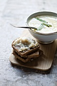 Garlic soup with bread