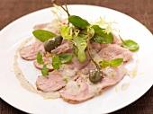 Vitello tonnato (veal with tuna and yoghurt sauce)