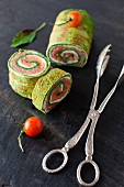 Spinach and Basil Smoked Salmon Wrap; Sliced