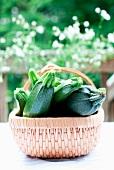 Fresh Whole Zucchini in a Basket