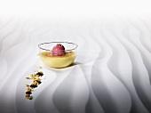 Crème brûlée cooked 'sous vide' with blackcurrant ice cream