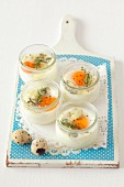 Quail's eggs in glasses