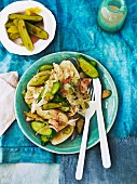 Potato salad with smoked trout and cucumber