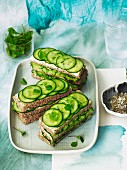 Cucumber sandwiches with dill and lemon butter