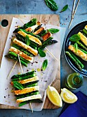 Asparagus and haloumi skewers with mint