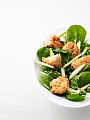Spinach leaves with calf's sweetbreads and apple