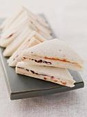 Tramezzini sandwiches with radicchio and tomatoes