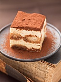 A piece of tiramisu sprinkled with cocoa powder