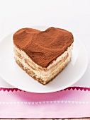 A heart-shaped tiramisu