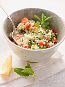 Couscous salad with tomatoes, cucumbers and mint
