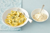 Cheese ravioli with butter and sage