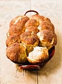 Rohrnudeln (baked, sweet yeast dumplings) in the baking tin