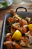 Chicken legs with garlic, lemon and herbs