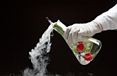 A hand holding a chemistry flask filled with radishes and dry ice