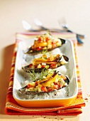 Sweet and sour stuffed mussels