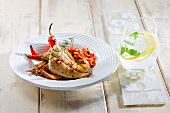 Fish fillet with sweet potatoes and chillies