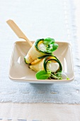 Courgette rolls with ricotta filling