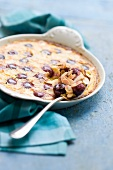 Clafouti with cherries and slivered almonds