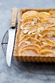 Orange tart with slivered almonds