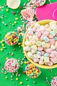 Colourful mini marshmallows, sugar balls and sugar sprinkles