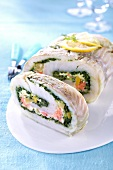 Fish roulade with herbs and vegetables