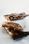 Almond brittle with dried fruit and chocolate