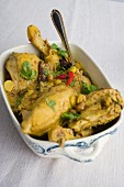 Chicken curry with almonds, chillies and coriander leaves