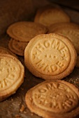 Biscuits stamped with the words 'home made'
