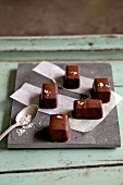 Chocolate-coated caramels with fleur de sel