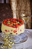 An eggnog muffin trifle with strawberries for New Year's Eve