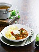 Lamb goulash with tagliatelle