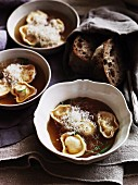Tortellini in chicken broth