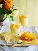 Lemon cream with brandied oranges
