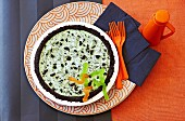 Swamp pie with jelly snakes (chocolate pie with marshmallow mint cream) for Halloween