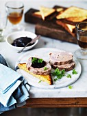 Duck galantine with foie gras and beetroot jelly on toast