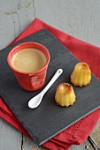 Canelés with coffee (mini French pastries)